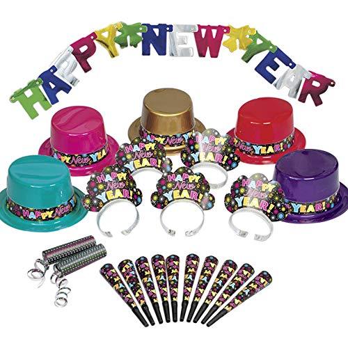Silvester Partybox Happy New Year für 10 Personen - 22 Teile - Partyhüte, Tiaras, Tröten, Banner & mehr