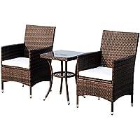 Outsunny Conjunto de 1 Mesa y 2 sillas para Terraza y Jardín Muebles de Exterior de Ratán de Color marrón