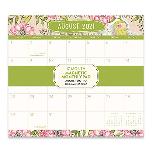 Orange Circle Studio 2021-2022 Magnetic Monthly Calendar Pad - 17-Month Planner with Magnetic Tab - for Fridge, File Cabinet, or Desktop - Where Love Grows