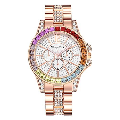 RTUQ Reloj de mujer analógico de cuarzo de acero inoxidable, reloj de cuarzo para el tiempo libre, cinturón magnético, reloj para mujer, con correa de acero de diamante completo, b,