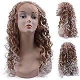 Femme de maïs chaud bouclés Midsplit Cheveux longs brun foncé dégradé de couleur synthétique perruques Beauté Faux cheveux avant de dentelle perruque cosplay naturel perruque de cheveux de remplacemen