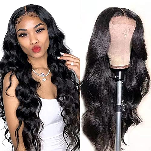 Human Hair Lace Front Wigs for Black Women Pre Plucked Brazilian Virgin Lace Frontal Wigs Human Hair 150% Density Body Wave Lace Closure Human Hair Wigs with Baby Hair (18 Inch)