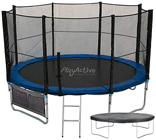 PlayActive 10ft Trampoline - Strong & Durable - Free Safety Net, Ladder Attachment, Weather Proof Cover & Shoe Bag Included - The Perfect Gift For Children