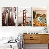 Carteles e impresiones de fotografía de paisaje de la costa oeste del puente Golden Gate, imágenes de bosque de secoya, lienzo artístico, pintura, decoración-50x70cm x3 sin marco