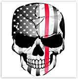 SkinoEu® 2pcs PVC Laminado Adhesivos Pegatinas Bandera USA Calavera Craneo Thin Red Line para Motociclista Autos Coches Motos Ciclomotores Bicicletas Ordenador Portátil Regalo B 42