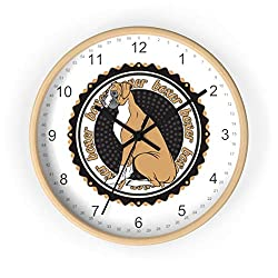 Boxer Dog Wall Clock Wooden Wall Clock Silent Non-Ticking Battery Operated Wooden Wall Clocks Decor Great Gift for Dog Lovers New Home Housewarming Party Gift Idea for Those with A Pet Or New Puppy