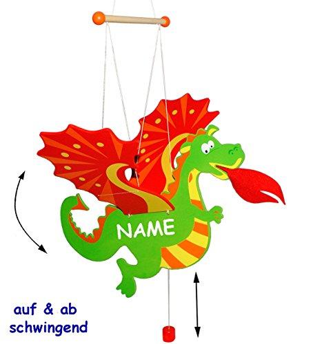 alles-meine.de GmbH Schwingtier / bewegliches - Holzmobile - Drache - incl. Name - Unruhe aus Holz - Spielzeug Windspiel / Tiere - Schwingfigur - Mobile Baby & Kinder - Windspiel..
