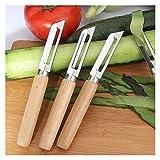 RHLDZSWB 1 pelador de acero inoxidable para manzana, tomate, pera, vegetal, patata, mango de madera para pelador de patatas de manzana, pelador de frutas (color: blanco)