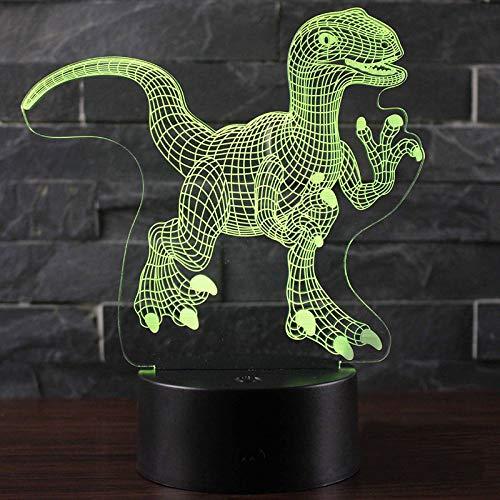 WangZJ schöne Dinosaurier Thema 3d Lampe Nachtlicht-7 Farbwechsel Touch-Stimmung Lampe-Geschenke für Mütter Geburtstag/Autsch 7 Farbe (schwarzer Sockel)