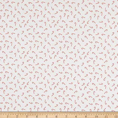 Riley Blake Santa Claus Lane Candy Canes White Quilt Fabric By The Yard