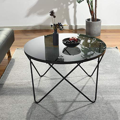 HOMYCASA Couchtisch Rund, Aus gehärtetem Glas Wohnzimmertisch Modern Beistelltisch, Glastisch mit Metallbeinen Minimalistischer Stil, Kaffeetisch, 80 * 80 * 48cm (80 * 80 * 48cm, Schwarz-2)
