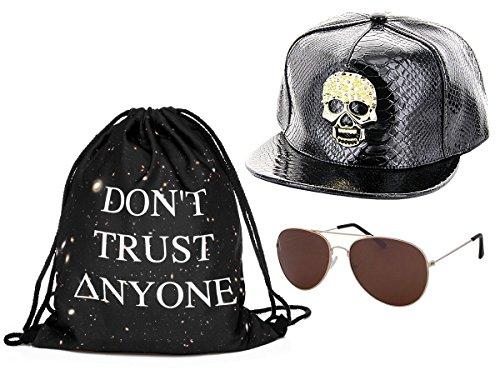 Kit ensemble de 3 accessoires noir blanc : Sac , Casquette et lunettes (Outfit Set 5) pas cher convenables pour adultes et ados unisex fille garçon homme femme look Hip Hop cool sympa jeune sportif