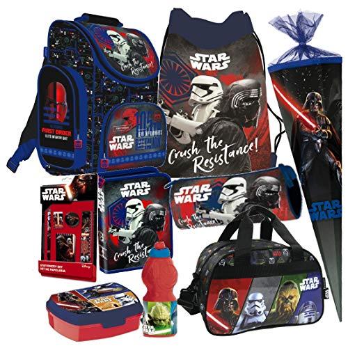 Star Wars 9 TLG. Schulranzen RANZEN Episode 7 SCHULTÜTE 85 cm Tornister Sporttasche Rucksack Tasche Set + Sticker von Kids4shop