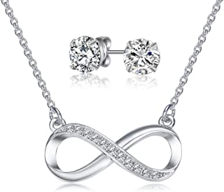 Mestige Necklace and Earrings For Women, Silver - MSSE3092