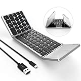 Foldable Bluetooth Keyboard, Jelly Comb B003B Dual Mode USB Wired & Bluetooth Keyboard with Touchpad Rechargeable for Windows Android Tablet Smartphone Surface and More-Updated (Black and Silver)