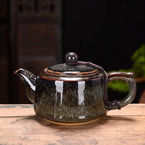 XYSQWZ Teeservice Teetasse Handgefertigt Großer Ofen Jun-Porzellan Seitengriff Teekanne Teeservice Retro-Keramik Tianmu-glasur Tian Hu (jun-grau)