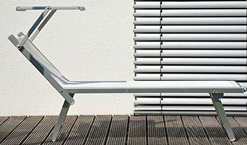 Jan Kurtz Rimini Classic - Tumbona de aluminio anodizado con toldo resistente a los rayos UV Capri DE Luxe para sauna, playa, terraza, jardín