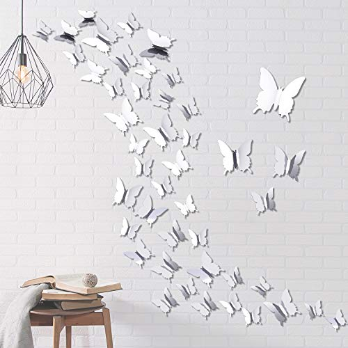 Aneco 48 Pieces 3D Mirror Butterfly Combination DIY Butterfly Wall Stickers Mirror Wall Stickers for Art Home Room Decors