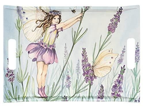 Lashuma Bandeja para bebidas rectangular 38 x 27 cm, bandeja de picnic lila con impresión: elfo, bandeja de plástico con asas.
