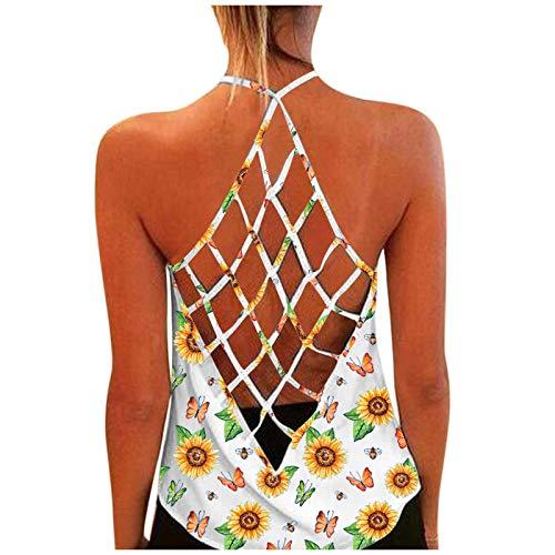 RONGYP Vestido de verano para mujer, informal, suelto, estampado de flores, cuello en V, sin mangas, elegante, vestido de playa, bohemio. Blanco L