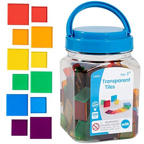 edx education Transparent Tiles - Mini Jar - Colorful, Plastic Squares - Light Box Accessory - Sensory Play - Math Manipulative