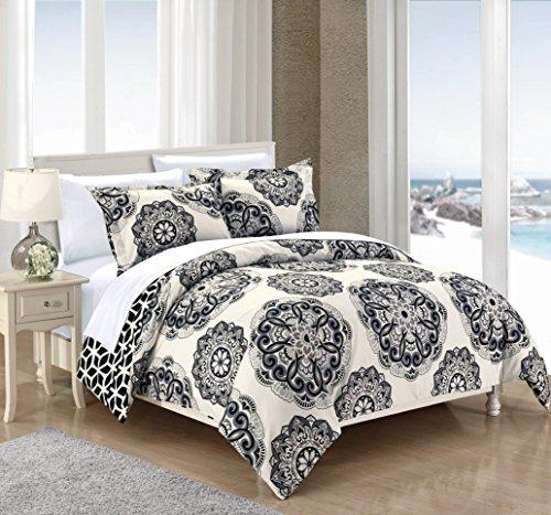 Chic Home Design Twin 2pc Aragona Duvet Cover & Sham Set Black