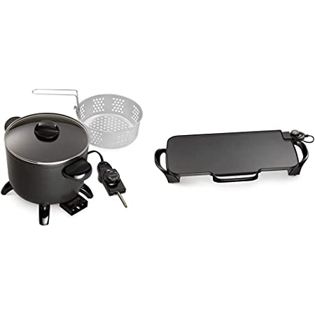 Amazon Com Presto 06006 Kitchen Kettle Multi Cooker Steamer 07061 22 Inch Electric Griddle With Removable Handles Black Kitchen Dining