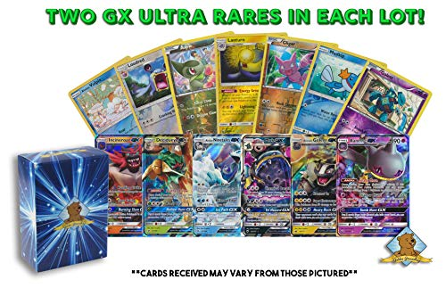20 Pokemon Cards | 2 GX Ultra Rare + 18 Reverse Holo | 100% Authentic Value Pack | Random Assorted Pokemon Trading Card Lot GG Box