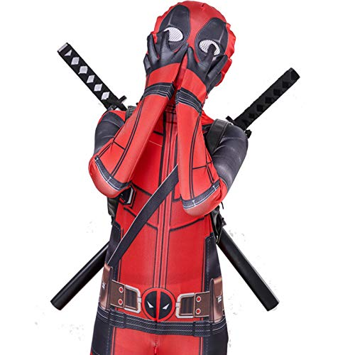 WEIR Kinder Superheld Deadpool Bodysuit Kostüme 3D Spandex Halloween Cosplay Anime Jumpsuit,Deadpool-120~130cm