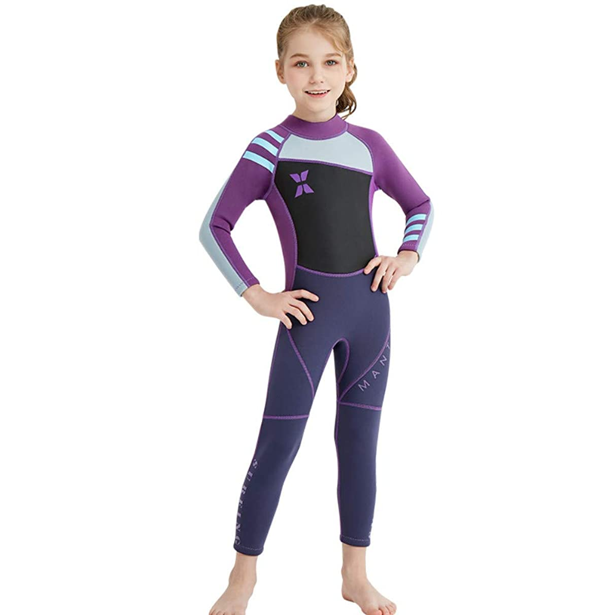 DIVE & SAIL Kids 2.5MM Neoprene Wetsuit Long Sleeve Full Body UV Protection Boys & Girls for Scuba Diving Snorkeling Swimming Fishing Surfing (Thick)