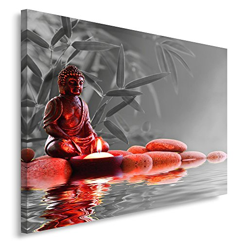 Feeby. Cuadro en lienzo - 1 Parte - 60x80 cm, Imagen impresión Pintura decoración Cuadros de una pieza, BUDA, CULTURA, RELIGIÓN, GRIS, ROJO