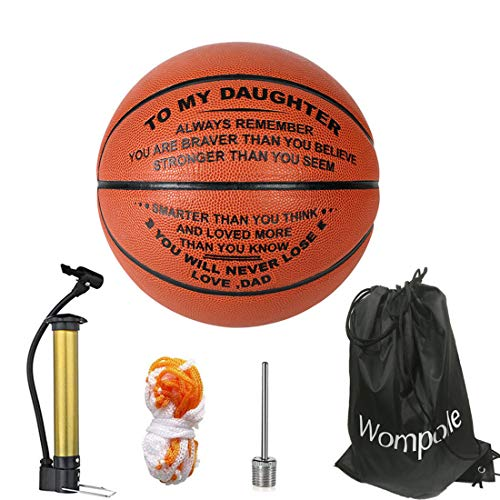 wompolle Engraved Basketball Gift for Daughter - Unique Gifts for Daugther from DAD- Personalized Basketball Indoor/Outdoor Game Ball for Daughter (for My Daughter from dad)