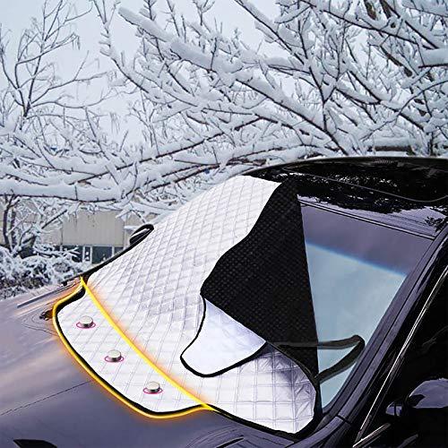 FREESOO Protector de Parabrisas, Protector para Parabrisas con Imán Cubierta de Parabrisas Coche Protege de Rayos Antihielo Nieve UV Lluvia Funda Plegable Parabrisa Delantero Universal, 190cm x 126cm