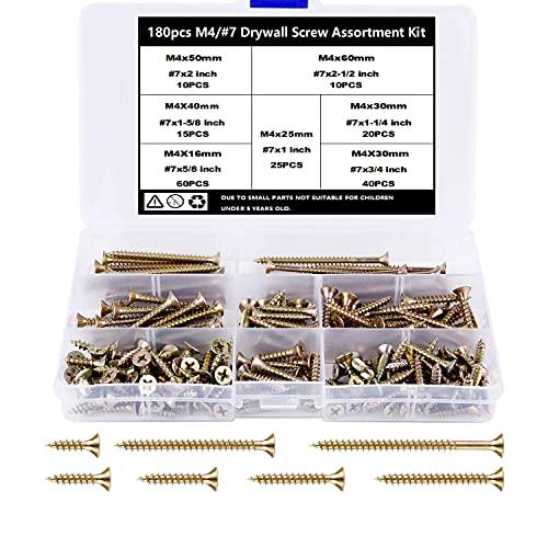 TAIANJI 180 tornillos de madera surtidos M4 de 15 mm, 20 mm, 25 mm, 30 mm, 40 mm, 50 mm, 60 mm, tornillos surtidos, juego de tornillos de cabeza plana Phillips para paneles de yeso, muebles, etc