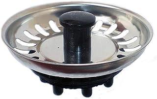 Kibath 200403 spoelbakstop van roestvrij staal, met rubber/rubbersluiting, diameter 8 cm, verchroomd, glanzend en zwart