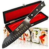 TATARA | Santoku Knife - 7 inch Japanese Sushi Knife for Chefs | VG10 Damascus | Perfect For Sushi, Vegetable, Meat Cutting | Comes With Wooden Case
