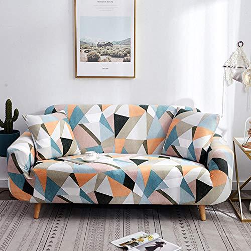 Funda elástica para sofá de 4 plazas, fundas de sofá elásticas de poliéster y elastano impresas, fundas de sofá ajustables universales para muebles, antideslizantes, color triángulo