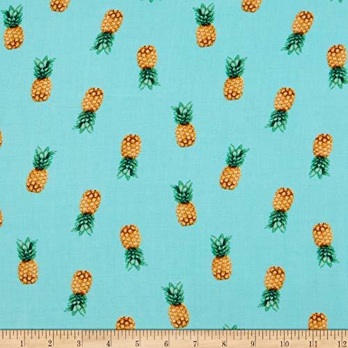 Fabtrends Rayon Soleil Pineapple Photo Aqua Fabric