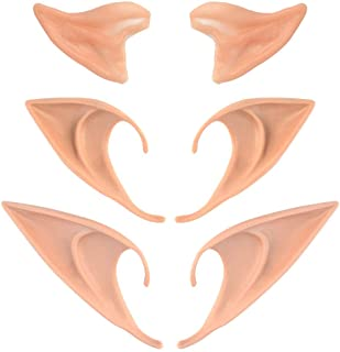 Nydotd 3 Pairs Latex Elf Ear Pointed Goblin Ears Pointed Tips Dress Up Costume Cosplay Halloween Party Props Party Fake Ea...