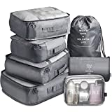Travel Packing Cubes VAGREEZ Travel Luggage Organizers Packing Cubes with Laundry Bag and Toiletry Bag