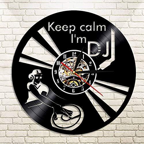 WERWN DJ Cool Reloj de Pared Reloj de Pared Mezclador DJ Tocadiscos Disco de Vinilo Hip Hop Tocadiscos Disco de Vinilo