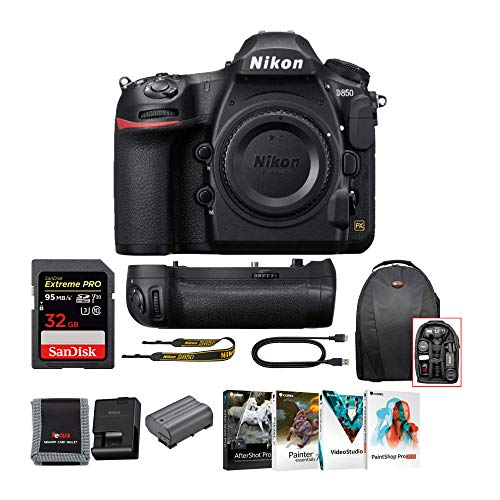 Nikon D850 FX-Format Full Frame DSLR Camera with Nikon Battery Grip, Pro 32GB SD Card, Corel Software and Accessory Bundle