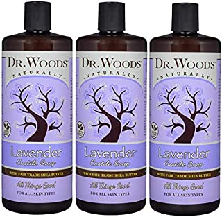 Dr. Woods Pure Lavender Castile Soap with Organic Shea Butter, 32 Ounce (Pack of 3)