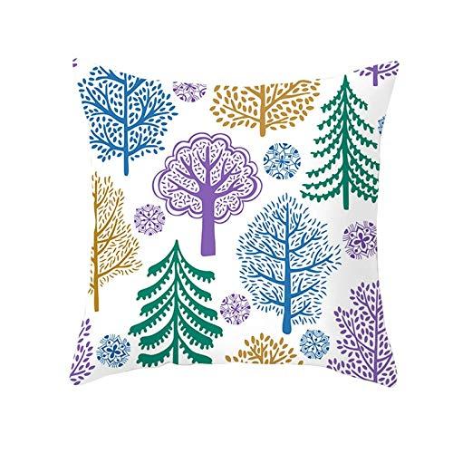 ANAZOZ 1 Funda Cojin 40 x 40,Fundas de Cojin Poliéster Árboles y Copos de Nieve Verde Púrpura Azul