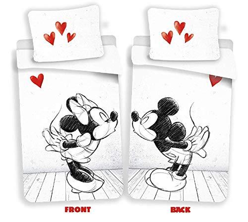 Disney Minnie et Mickey Love - Juego de cama (funda nórdica de algodón)