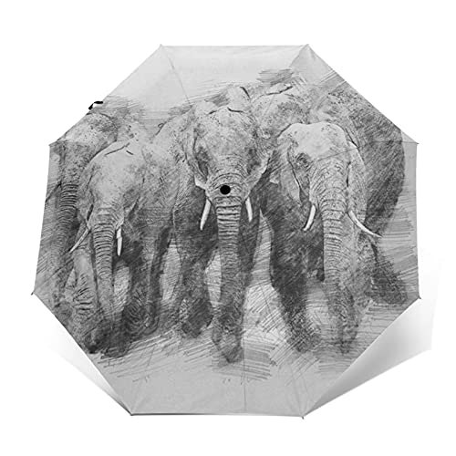 Paraguas Plegable Automático Impermeable Animal Elefante 535, Paraguas De Viaje Compacto Prueba De Viento, Folding Umbrella, Dosel Reforzado, Mango Ergonómico