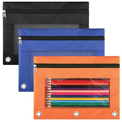 LABUK Pencil Pouch 3 Ring Binder, 3 Pack 3 Color Zipper Pencil Pouch Pencil Case Bag