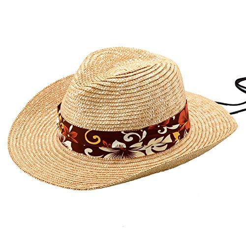 (田中帽子) GOLF (アロハ) 麦わら テンガロン型ゴルフハット (麦わら帽子 メンズ ストロー ゴルフ ゴルフハット ギフト 誕生日 男性 女性 父の日プレゼント 人気商品 日本製 )UK-H106 (ナチュラル×ブラウン系アロハ柄リボン58cm