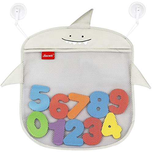 2X Bath Toy Organizer Baby Toy Holder | Mesh Bathtub Storage Bag Shower Tub Container For Toddlers | Net Bathroom Caddy With 6 Strong Suction Cup Hook | Bonus 10 Foam Numbers (Baby Shark Grey)