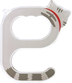 ドアオープナー 非接触 アクリルドアオープナー 日本製 ドアオープにゃー ドアオープニャー 猫 キーホルダー ボタン押し (グレートラ)